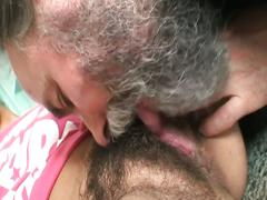 Horny babe with hairy pussy drilled by hard cock