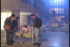 Cute looking nurse get gangbanged by 3 studs