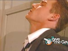 Hot businessman fucked in public bathroom