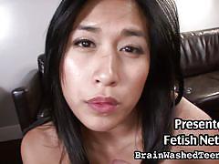 Asian hottie masturbates and gobbles on cock