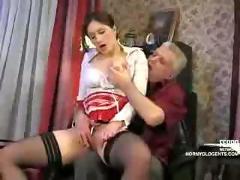 Old cock fucks russian maid