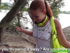 Euro ginger pickedup outdoors before jerking