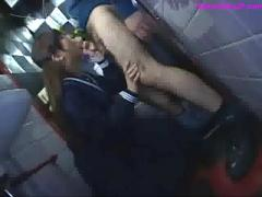 Schoolgirl fingered giving blowjob on her knees in restroom
