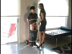 Hot mistress humiliates a bound guy