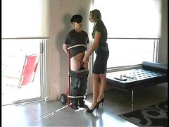 Hot mistress humiliates a bound guy