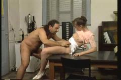 Father double fucking his cute girlfriend with his friend