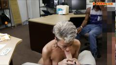 Blonde babe gets to suck and fuck real hard