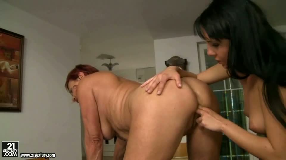 Old redhead loves young brunette