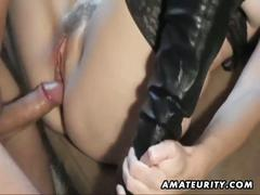 blowjob, cumshot, hairy pussy, hardcore, milf, stockings, cum brush, deepthroat, fishnets, homemade, missionary, mom