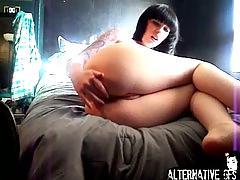 amateur, bigger tits, tits tats, bras panties, ass, solo, stockings