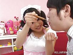 Kinky japanese playing dirty as a maid