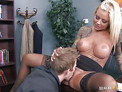 blonde, babe, office, blowjob, tattooed, from behind, pussy eating, on the table, big tits at work, brazzers network, britney shannon, danny d