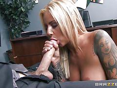 Blonde slut gets fucked in the office