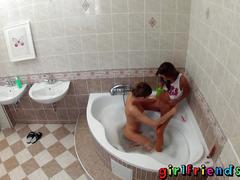 Girlfriends wash hair in bath and make hot pussy eating tape
