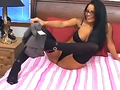 Brunette in opaque thigh high stockings fucking