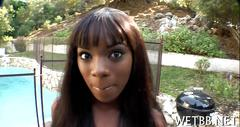 Ebony honey sitting on a mean dick
