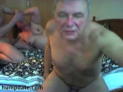 Horny mature couple having fun with their male date