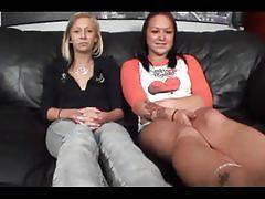 Lesbians lick feet then gets feet fucked
