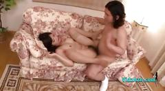 Asian girl in stockings getting her hairy pussy...