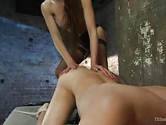 Tranny steps on his bum