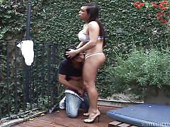 She sucked off in the garden @ mexican shemales #05
