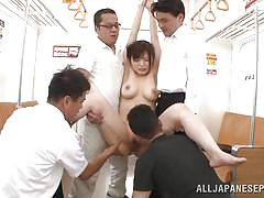Cute girl gets groped on the train