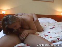 European girl with big tits gets an american creampie