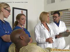 Cfnm busty nurse interracially cumsprayed