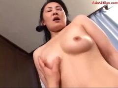 Milf sucking cock fucked cum to belly on the bed