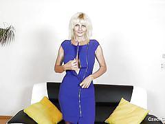 Blonde czech lady gets undressed