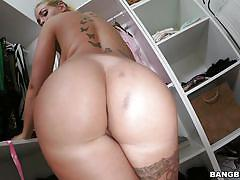 tattoo, blonde, big ass, babe, blowjob, busty, oiled, big dick, pov, big tits, round asses, bangbros network, kyra hot