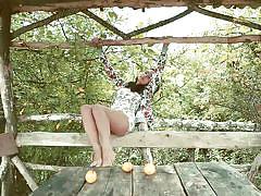 outdoor, solo, masturbation, brunette, undressing, pov, busty babe, femjoy, nadina l.