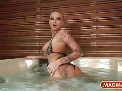 Magma film shooting in the hot tub