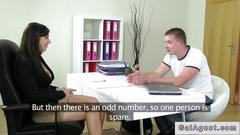 Female agent fucked by her assistant
