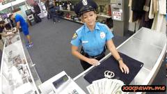 Police officer is on her knees gagging