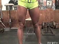 fetish, muscle, dildo, masturbation, femdomme, bodybuilder, bod