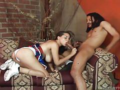 Exotic sex on the couch @ 142 inches of black cock #03
