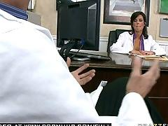 Big tit brunette milf pornstar doctor fucks her last patient.