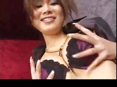 Japanese beauty masterbating with sexy long nails