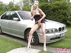 blonde, babe, outdoor, solo, slim, dildo, masturbating, on car, pinky june, pinky june