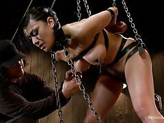 orgasm, bdsm, babe, tattooed, chained, chain collar, candle wax, electric vibrator, device bondage, kink, orlando, beretta james