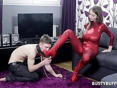 whip, femdom, high heels, busty, big naturals, pussy eating, mouth gag, busty buffy, busty buffy