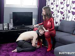 Busty buffy getting wild as a dominatrix