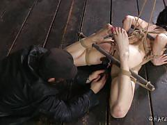 babe, slave, domination, gagging, black hair, rope bondage, pussy insertion, hard tied, veruca james