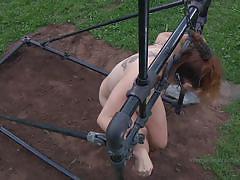 Pig slave eats her slop