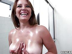 milf, big ass, big tits, solo, brunette, pov, foam, tits groping, showering, big tits, round asses, bangbros network, kayla west