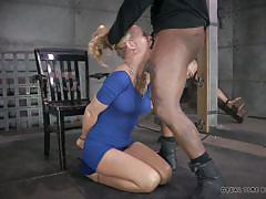 blackmail, blonde, threesome, bdsm, interracial, blowjob, tied up, real time, real time bondage, simone sonay, darling