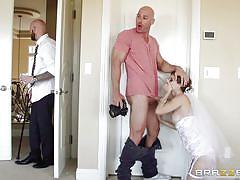 wife, bride, deepthroat, posing, cheating, blowjob, adultery, photo shoot, brunette milf, fishnet stockings, real wife stories, brazzers network, johnny sins, jenni lee