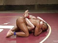 Naked gay hunks wrestle on tatami