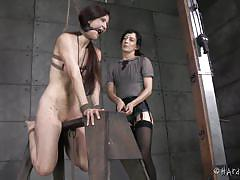 Elise gets tied, penetrated and upside down